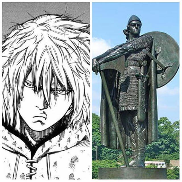 A la izquierda, imagen de Thorfinn en el manga Vinland Saga, mientras que a la derecha, se encuentra la estatua de Thorfinn, con las manos apoyadas en su hacha, en Filadelfia.