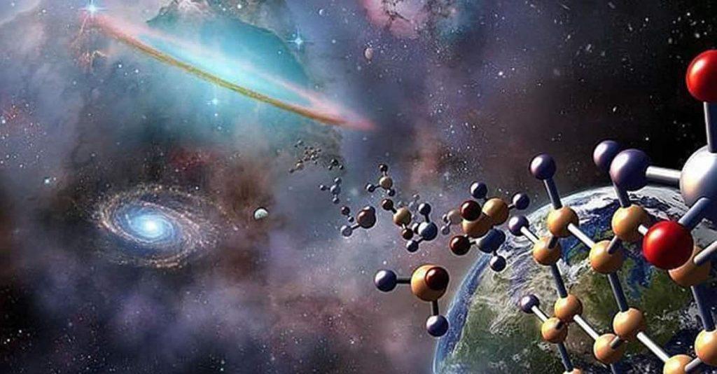Imagen del universo, con la Vía Láctea en el fondo y una cadena química avanzando hacia ella.